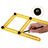 Angleizer Template Tool-HONTECH Multi-Angle Measuring Ruler -Easy to Tighten Angle-izer Template For Your Tool Box (Yellow)