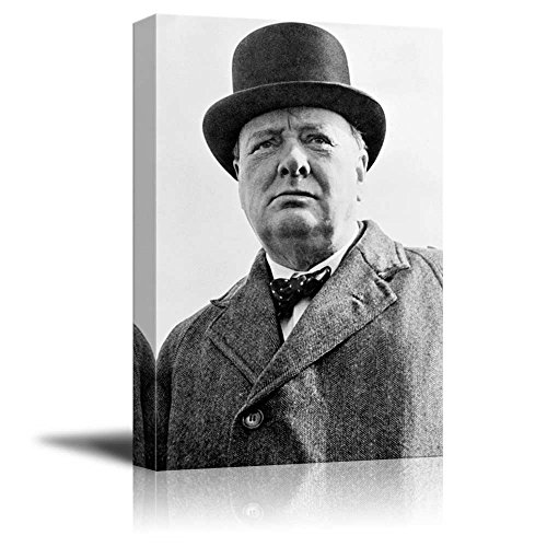 Portrait of Winston Churchill - Inspirational Famous People Series | Giclee Print Canvas Wall Art. Ready to Hang - 16