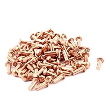 100 PC 1/8 x 5/16 de cabeza redonda de cobre sólido Remaches