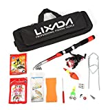 Lixada Telescopic Fishing Rod and Reel Combos 2.1m Fiberglass Full Kit Sea Fishing Pole Spinning Reel Set with Fishing Lures,Hooks,Barrel Swivel,Carrier Case