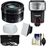 Panasonic Lumix G 15mm f/1.7 Leica DG Summilux Lens with 3 Filters + Flash & 2 Diffusers + Kit for G5, G6, GF5, GF6, GH3, GH4, GM1, GX7 Cameras