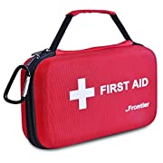 First Aid Kit by Frontier - 205 Pieces of high Grade Emergency Medical Equipment in a Portable, Bright red, Shock Resistant case.