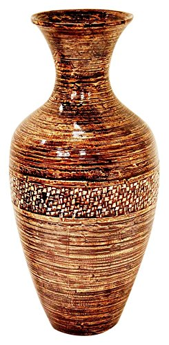 Spun Bamboo Vase (Heather Ann Creations Water Jug Shaped Bamboo Spun Decorative Accent Floor or Table Vase, 25