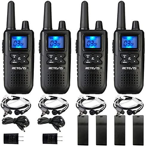 Retevis RT41 Walkie Talkies for Adults with Headset NOAA Weather Alert LCD FRS 10 Call Alert VOX Rechargeable 2 Way Radio Long Range 4 Pack