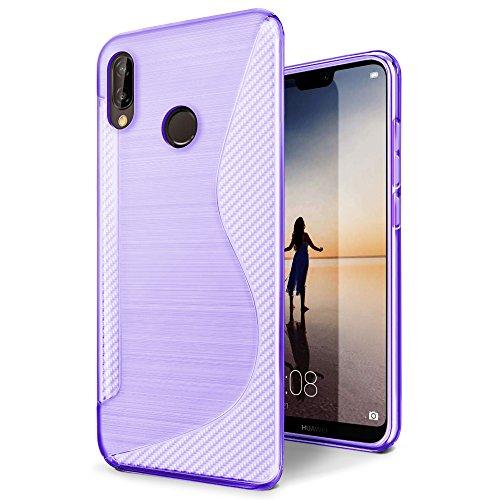 Funda Huawei P20 Lite SLEO Carcasa Suave TPU Gel [Ultra Fina] [Protección a Bordes y Cámara] Parachoques Alta Resistencia Protectora Delgada con Absorción de Impactos y Resistente a los Arañazos para  Púrpura