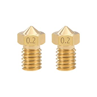 Brass 10pcs uxcell 0.2mm 3D Printer Nozzle Head M6 Thread Replacement for MK8 1.75mm Extruder Print