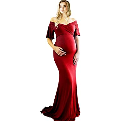 225767187fed3 SMDPPWDBB Fitted Maternity Dress Baby Shower Photoshoot, V-Neck Short  Sleeve Maternity Gown Sweetheart Dress Off Shoulder at Amazon Women's  Clothing store: