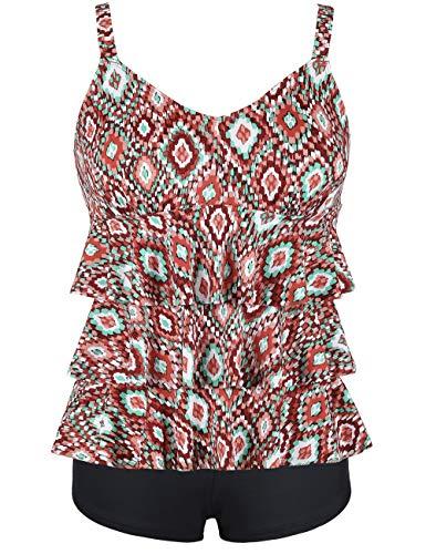 Septangle Swimsuits for Women Ruffle Tankini Set with Boy Shorts Plus Size Two Piece Swimwear,US16,Rhombus Safflower]()