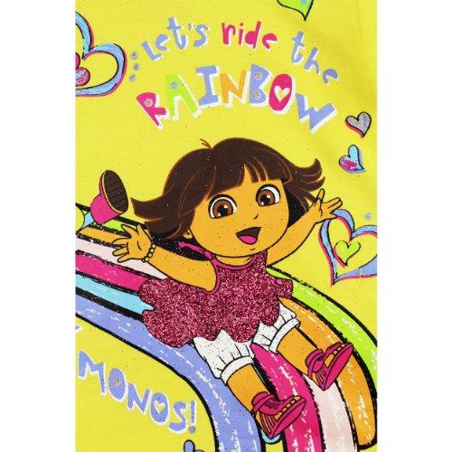 Nickelodeon Little Girls' Dora Let's Ride The Rainbow Short Sleeve Tee, Yellow, 4T