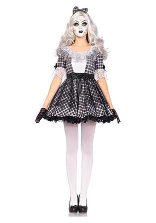 Pretty Porcelain Doll Costume Halloween Dress Creepy Doll Mask Bow