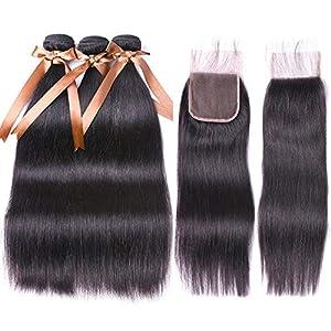 ALLRUN Brazilian Straight Hair 3 Bundles (10 12 14 inch)Brazilian Virgin Hair Unprocessed Straight Human Hair Bundles…