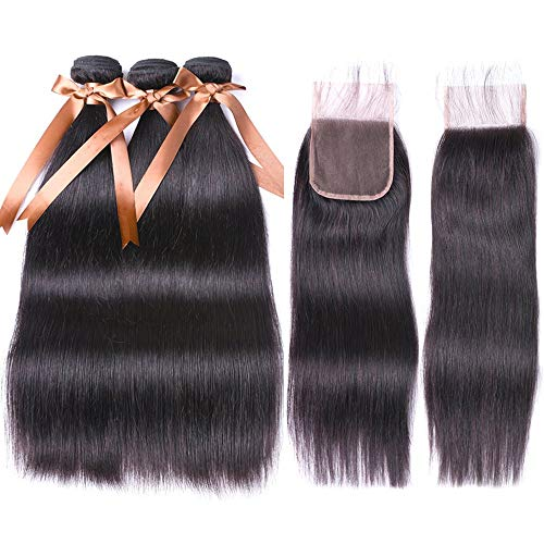 Allrun Hair Brazilian Human Hair 3 Bundles With (4x 4) Lace Closure Straight Wave Weft 100% Real Human Hair Extensions Natural Color (10 12 14+10 Closure)