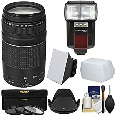 Canon EF 75-300mm f/4-5.6 III Zoom Lens + Canon Case + 3 UV/CPL/ND8 Filters & Lens Hood & Pouch + Tripod + Kit for EOS 5D Mark II III, 6D, 7D, 70D, Rebel T3, T3i, T5, T5i, SL1 Cameras by Canon Cameras