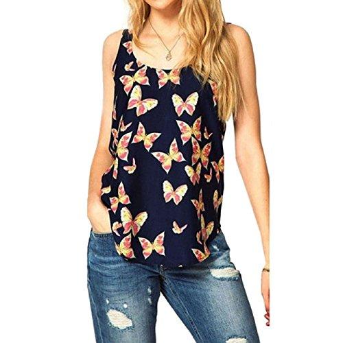 Butterfly Tank Shirts (Malloom Womens Butterfly Print Sleeveless Tank Top Shirts)