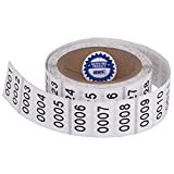 Consecutively Numbered Labels. Measure: 1.5' X 0.75' Paper Material (Various Number Sequences Available) (0001-1000)