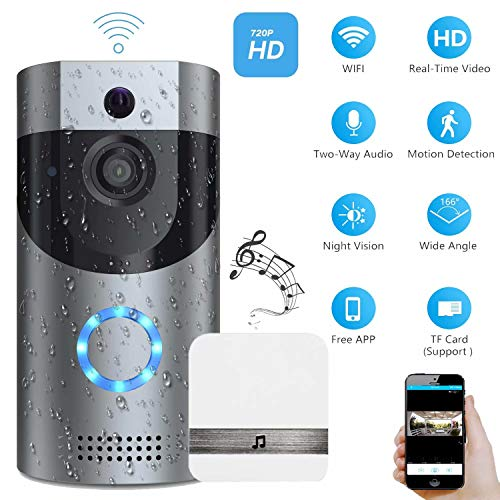 Smart Video Doorbell, Wonbo 720P HD WiFi Security Camera, Real-time HD Monitoring, Waterproof, Two-Way Communication and Remote App Control (Silver)