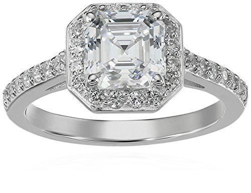 Platinum-Plated Sterling Silver Halo Ring set with Asscher Cut Swarovski Zirconia (1.5 cttw), Size 7