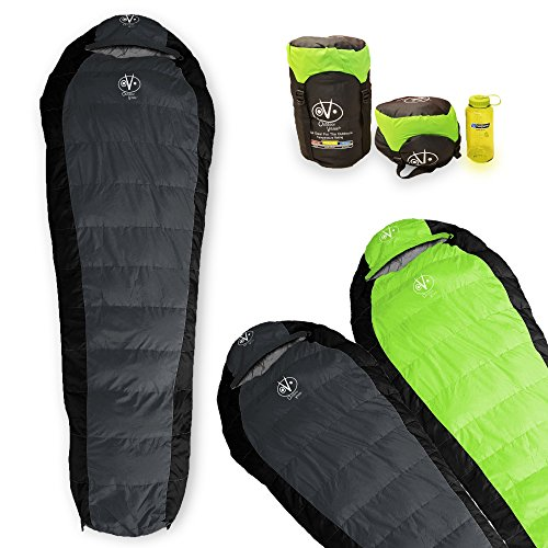 Outdoor Vitals Atlas 30°F Lightweight Down Mummy Sleeping Bag with Compression Sack & (Charcoal)