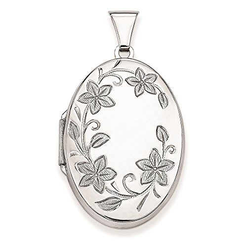 - 925 Sterling Silver Polished & Patterned Floral Oval Locket Charm Pendant (Holds 2 Photos)