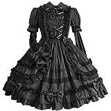 Partiss Women Long Sleeve Multi Layer Sweet Lolita Gothic Lolita Dress, XS, Black