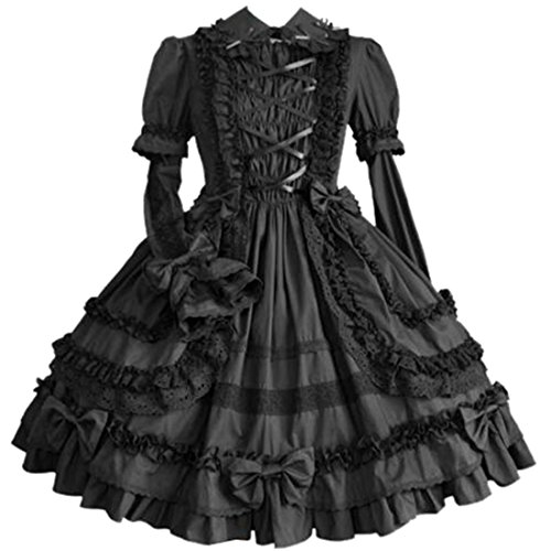 Partiss Women Long Sleeve Multi Layer Sweet Lolita Gothic Lolita Dress, XXL, Black
