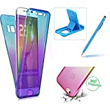 Case for Samsung Galaxy S7 Edge,Silicone TPU Cover for Samsung Galaxy S7 Edge,Herzzer Ultra thin [Gradient Color] Soft TPU Gel Slim Fit Shockproof Scratch Resistant Front and Back Full Body 360 Degree Protective Case for Samsung Galaxy S7 Edge + 1 x Free Blue Cellphone Kickstand + 1 x Free Blue Stylus Pen - Blue + Purple