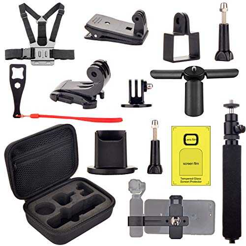 Accessories kit for Dji OSMO Pocket, Handheld Mount Adapter Tripod Carrying Case Expansion Phone Bracket Screen Protector for Osmo - Tripod Accessory Kit