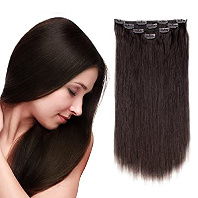 "14"" Remy Clip in Hair Extensions Brazilian Human hair for Women 50g 4pcs, Thick Double Weft 10 Clips Soft Silky Straight 100% Real Clip in Human Hair Extensions"