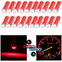 CCIYU 20 Pack T5 Red 58 70 73 74 Dashboard Gauge 1-SMD 5050 LED Wedge Lamp Bulbs Lights For Dashboard instrument Panel Light Bulbs LED Lamps