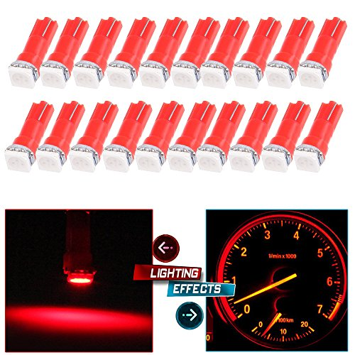 CCIYU 20 Pack T5 Red 58 70 73 74 Dashboard Gauge 1-SMD 5050 LED Wedge Lamp Bulbs Lights For Dashboard instrument Panel Light Bulbs LED Lamps (Freestar Sel Ford)