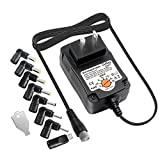 Outtag Regulated Universal 15W AC DC Power Adapter 3V-12V 7 different kinds of VOLTAGE ADJUSTABLE & 8 popular TIPS Replacement for Household Electronics, Other Rechargeable Devices 5Ft Cord CENTER +