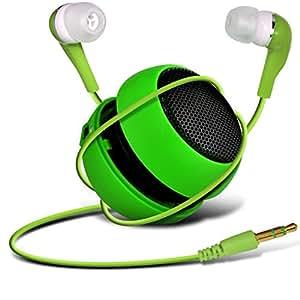 N4U Online - Acer Liquid E700 Cápsula Viajes recargable altavoces de graves en voz alta de 3,5 mm Jack Jack de entrada y en auriculares del oído - Verde