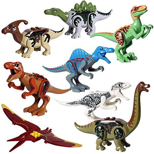 Kolobok Dinosaur Toys Park - Dino World Mini Puzzle - Jurassic Action Figures Set Predator vs Herbivore 8pcs Game Pack