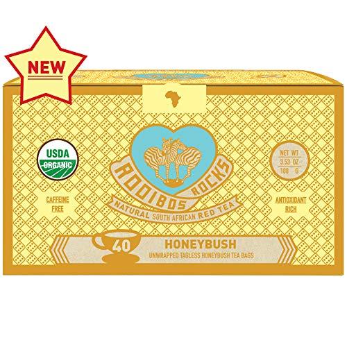 Honeybush Tea Organic Teabags - 40 Non GMO Naturally Caffeine Free South African Mountain Honeybush Tagless Herbal Tea Bags, by Rooibos Rocks: Tisane Rooibos Teas, A Taste of Africa, Feel the Goodness