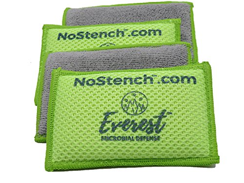 NoStench Kitchen Sponge by Everest Microbial Defense | Durable Antibacterial Microfiber Mesh and Terry Cloth, No Odor, Antimicrobial Protected | Germ-Free Lifestyle Product | 4 Pack +90 Day Guarantee