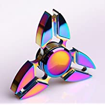 Colorful Fidget Spinner Toy for relieving ADHD, Anxiety, Boredom Rainbow, Metal Tri-Spinner Fidget Toy Smooth Surface Finish Ultra Durable, 3-6 minute Spin Times!