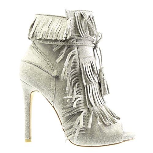 Angkorly - Scarpe Da Donna Stivaletti Pompa - Stiletto - Aperto - Frangia - Bobble - Tacco Alto A Spillo In Pizzo 11 Cm - Grigio