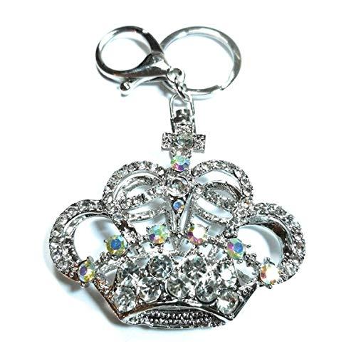 Teri's Boutique Tiara Crown Royal Queen Princess Women Kids Jewel Charm Pendant Rhinestone Crystal Keychains (Silver) (Keychain Jewel)