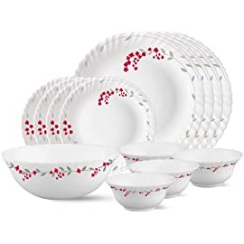 Larah by Borosil Verona Opalware Dinner Set, 13 Pieces, White Dinnerware Sets