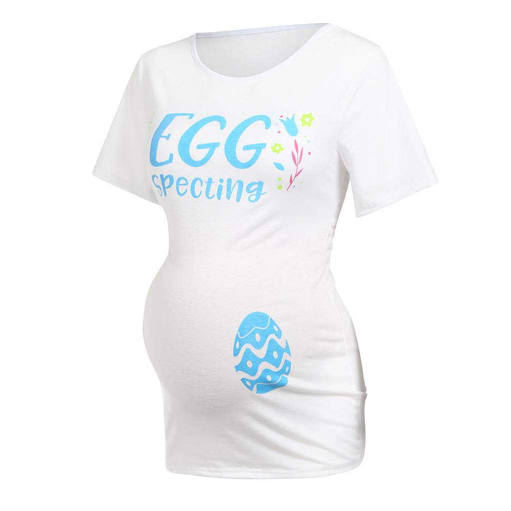 Topgee Women Maternity Short Sleeve Easter Letter Print T-Shirt Pregnancy Clothes Shirts Tops