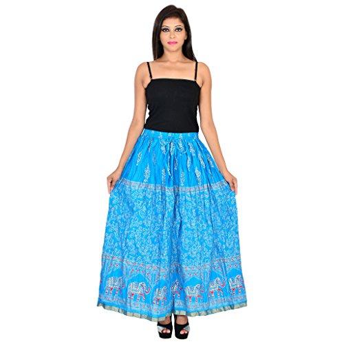 Rangsthali Cotton Gold Printed Straight Long Skirt for Women, Diwali Deal Diwali Gift for Sister, Diwali Offer on Skirt by Rangsthali