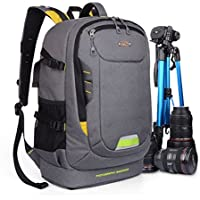 YuHan Oxford Large Capacity Multi-function Waterproof Anti-shock SLR/ DSLR Camera Bag Professional Travel Backpack Rucksack with Inner Padding and Rain Cover for Canon Nikon Sony Olympus Samsung Grey