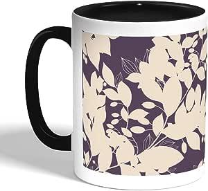 كوب سيراميك للقهوة، اسود، بتصميم زهور