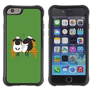 Suave TPU Caso Carcasa de Caucho Funda para Apple Iphone 6 / Love Couple Valentines Green Bench / STRONG