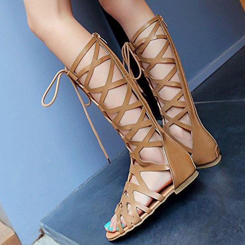 Zapatos Marrón Playa Romano Strappy Sandalias Sandalias 35 Zapatos Respirable Mujer Casual Alta Cheyuan Verano Sandalias Elegante Gladiador Plano Sandalias Rodilla Moda 43 Botas a8wBqFx