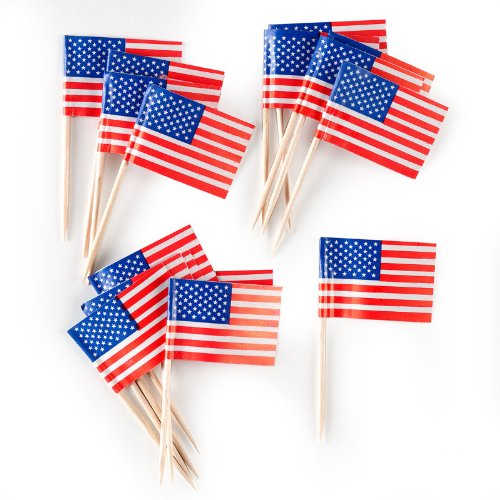 Creative Converting American Flag Picks Party Appetizer Cocktail Cupcake & Dessert Picks, 50 Count