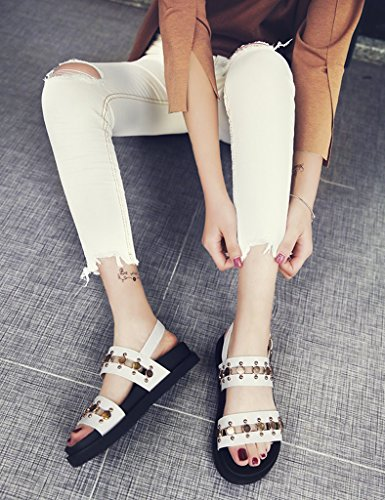 Platform Shoes Flat Sandals Leisure Student Bottom Shoes ZCJB White White 38 Summer Rome Female Color Female Size Rivet xwUPpwW8
