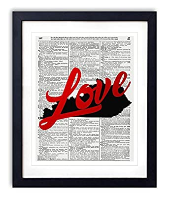 """Kentucky Love Red Foil Stamped Art Print - Vintage Dictionary Reproduction Art Print """"Love"""" Definition 8x10 inches Unframed"""