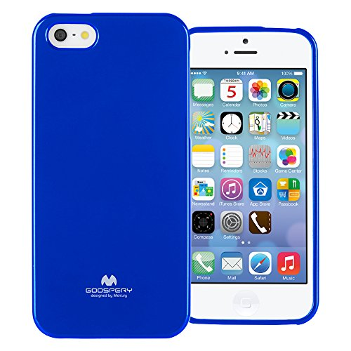 (GOOSPERY Marlang Marlang iPhone SE/5S/5 Case - Navy Blue, Free Screen Protector [Slim Fit] TPU Case [Flexible] Pearl Jelly [Protection] Bumper Cover for Apple iPhoneSE 5S 5, IP5-JEL/SP-NVY)
