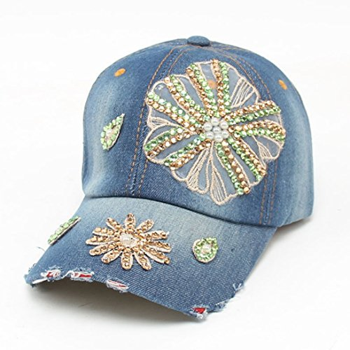 Wensltd 2015 New Vogue Women Embossing Flower Baseball Cap Summer Lady Jeans Hats (L)